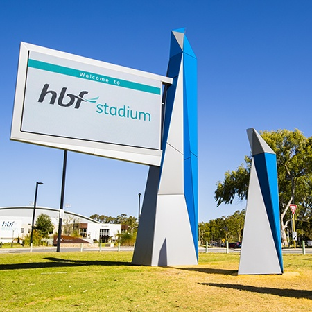 artwork sign at hbf stadium