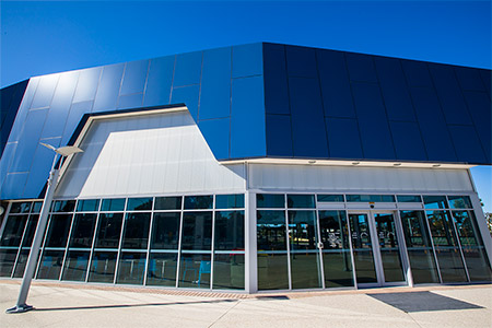 facade cladding at state netball centre