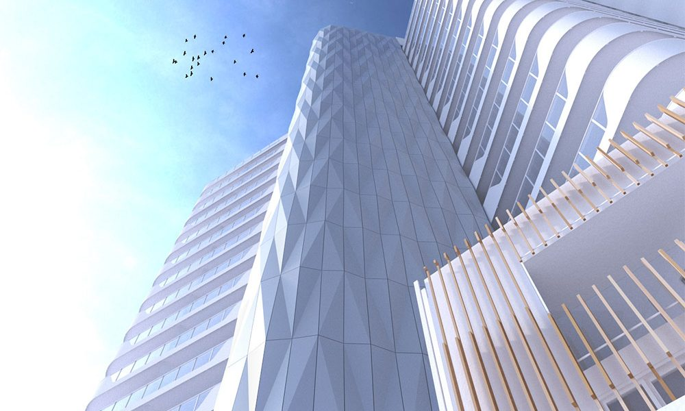 gold facade at crest apartments in burswood