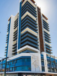 Front facade at Aurelia Apartments Sculpture at the Aurelia Apartments (South Perth)